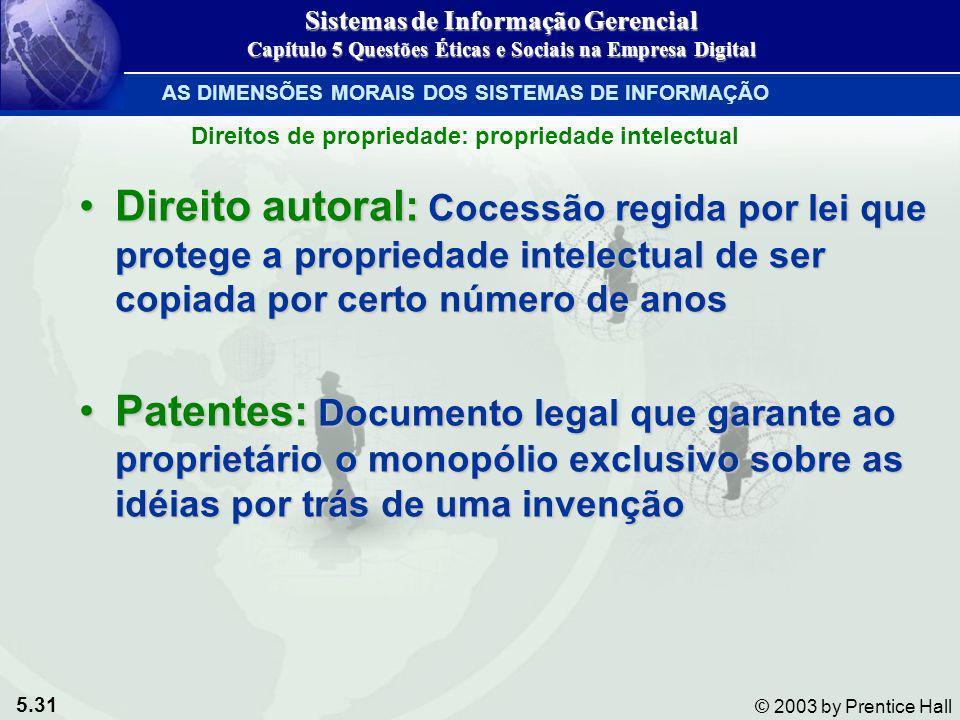 5.31 © 2003 by Prentice Hall Direito autoral: Cocessão regida por lei que protege a propriedade intelectual de ser copiada por certo número de anosDir