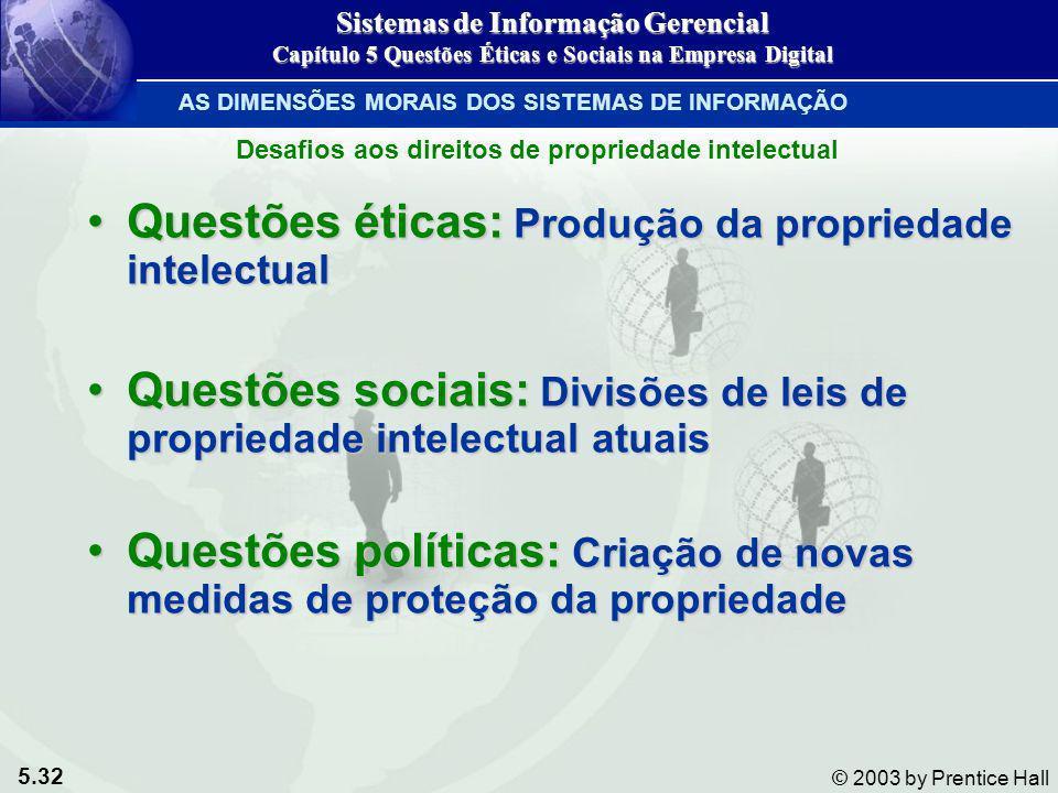 5.32 © 2003 by Prentice Hall Questões éticas: Produção da propriedade intelectualQuestões éticas: Produção da propriedade intelectual Questões sociais