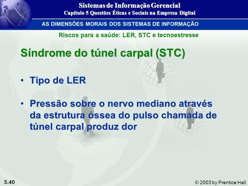 5.40 © 2003 by Prentice Hall Síndrome do túnel carpal (STC) Tipo de LERTipo de LER Pressão sobre o nervo mediano através da estrutura óssea do pulso c
