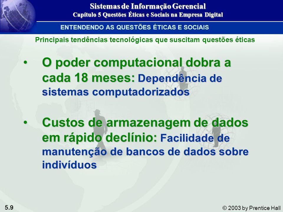 5.9 © 2003 by Prentice Hall O poder computacional dobra a cada 18 meses: Dependência de sistemas computadorizadosO poder computacional dobra a cada 18