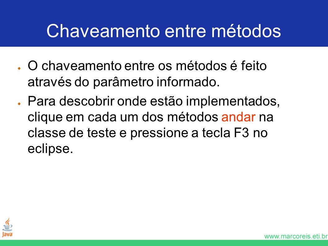 Chaveamento entre métodos O chaveamento entre os métodos é feito através do parâmetro informado. Para descobrir onde estão implementados, clique em ca