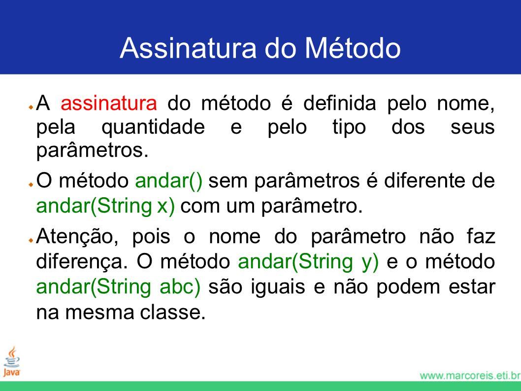 Assinatura do Método A assinatura do método é definida pelo nome, pela quantidade e pelo tipo dos seus parâmetros. O método andar() sem parâmetros é d