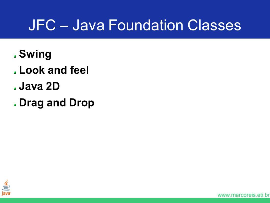 PrimeiraTelaSwing + JButton import java.awt.*; import javax.swing.*; public class PrimeiraTelaSwing extends JFrame { JTextField txtNome = new JTextField(null, 20); JTextField txtEndereco = new JTextField(null, 30); JButton btnGravar = new JButton( Gravar ); JButton btnFechar = new JButton( Fechar ); public PrimeiraTelaSwing() { setLayout(new FlowLayout()); //os componentes serão apresentados na tela nessa ordem getContentPane().add(txtNome); getContentPane().add(txtEndereco); getContentPane().add(btnGravar); getContentPane().add(btnFechar); setVisible(true); pack(); }