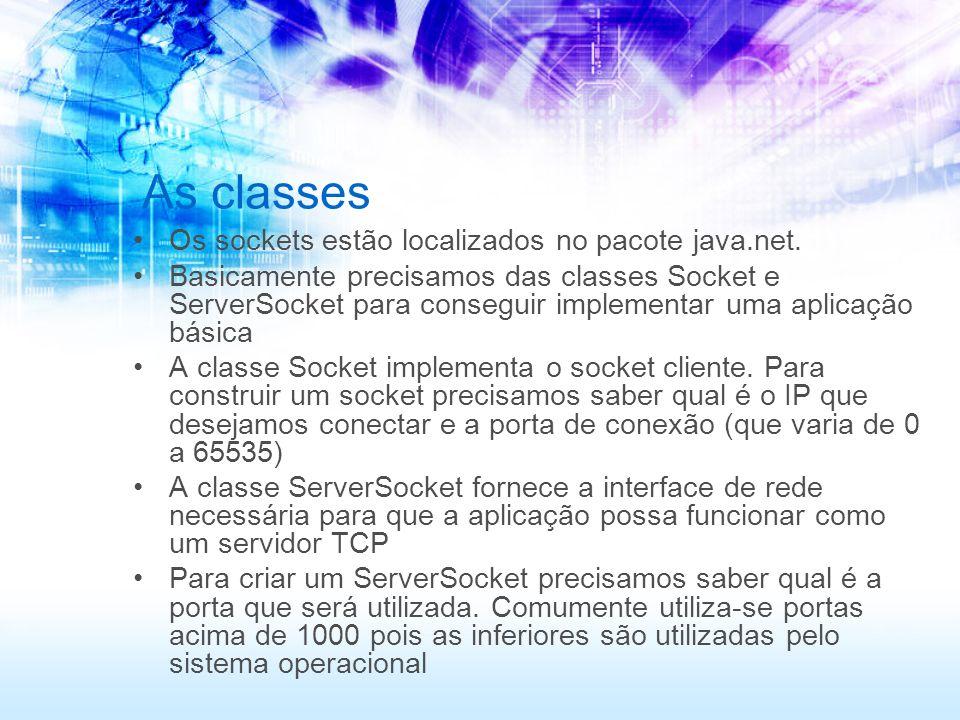 As classes Os sockets estão localizados no pacote java.net. Basicamente precisamos das classes Socket e ServerSocket para conseguir implementar uma ap