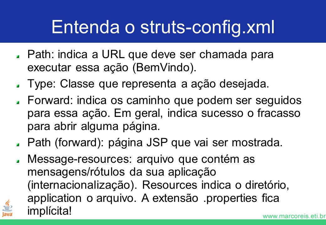 Entenda o struts-config.xml Path: indica a URL que deve ser chamada para executar essa ação (BemVindo). Type: Classe que representa a ação desejada. F