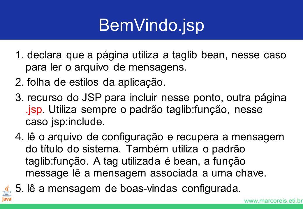 BemVindo.jsp 1. declara que a página utiliza a taglib bean, nesse caso para ler o arquivo de mensagens. 2. folha de estilos da aplicação. 3. recurso d