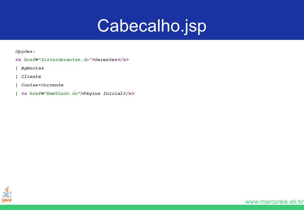 Cabecalho.jsp Opções: Gerentes | Agências | Cliente | Contas-Corrente | Página Inicial
