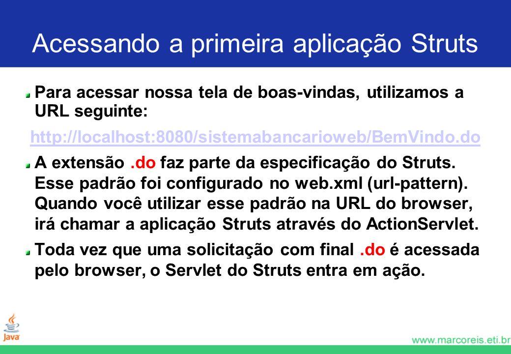 Acessando a primeira aplicação Struts Para acessar nossa tela de boas-vindas, utilizamos a URL seguinte: http://localhost:8080/sistemabancarioweb/BemV