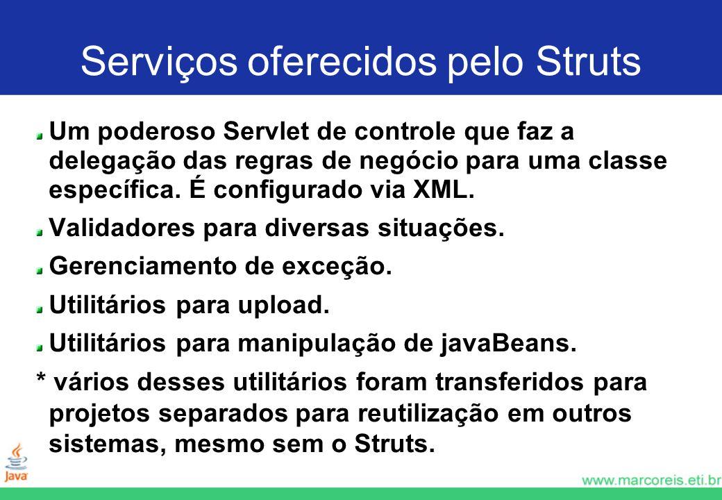 Serviços oferecidos pelo Struts Um poderoso Servlet de controle que faz a delegação das regras de negócio para uma classe específica. É configurado vi