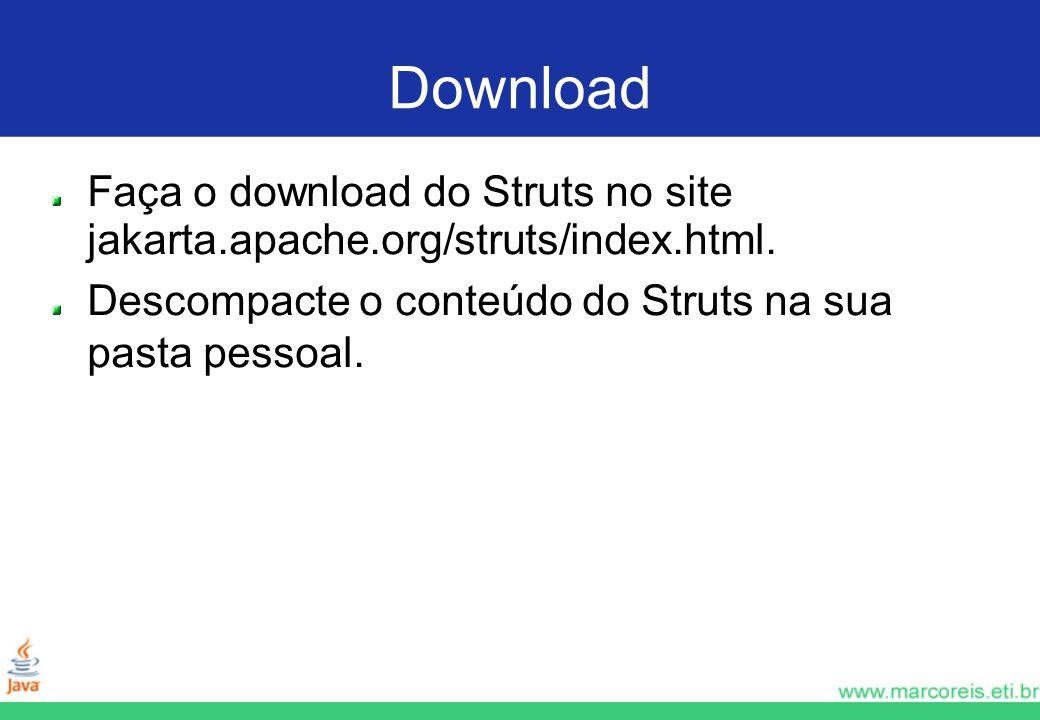 Download Faça o download do Struts no site jakarta.apache.org/struts/index.html. Descompacte o conteúdo do Struts na sua pasta pessoal.