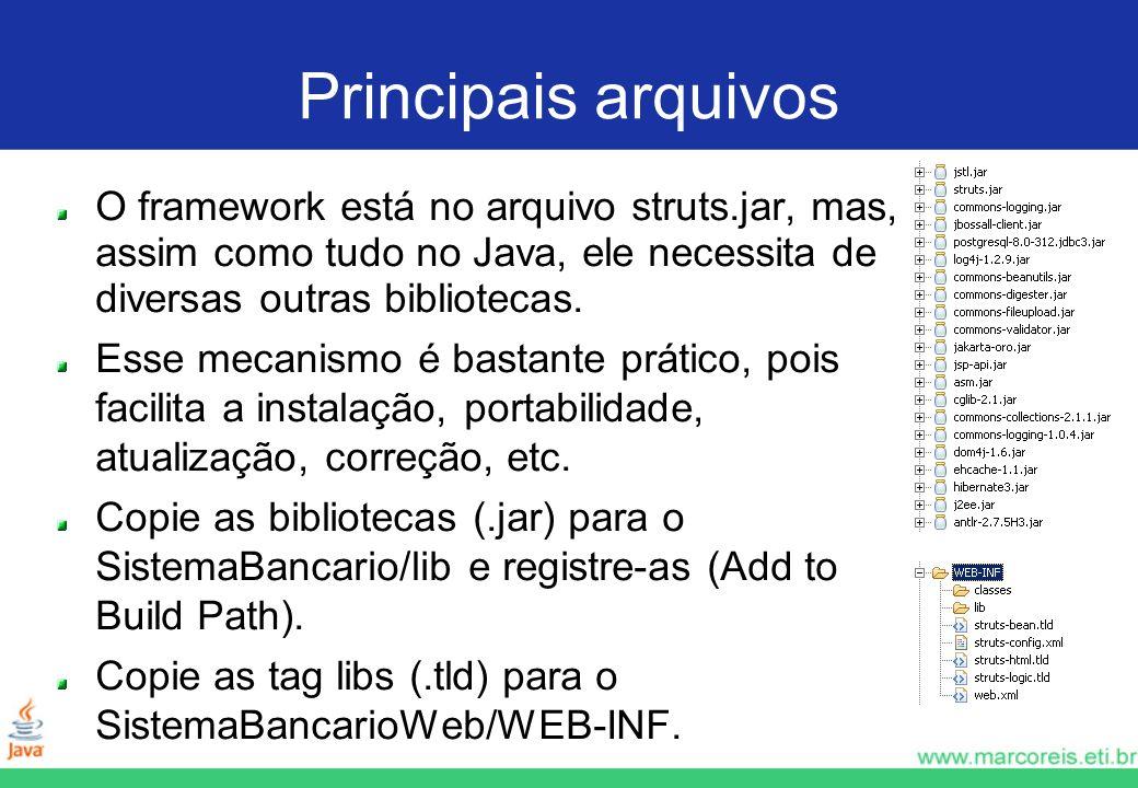 Principais arquivos O framework está no arquivo struts.jar, mas, assim como tudo no Java, ele necessita de diversas outras bibliotecas. Esse mecanismo