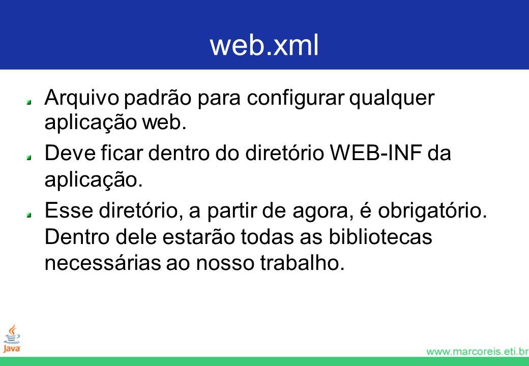 web.xml Arquivo padrão para configurar qualquer aplicação web. Deve ficar dentro do diretório WEB-INF da aplicação. Esse diretório, a partir de agora,