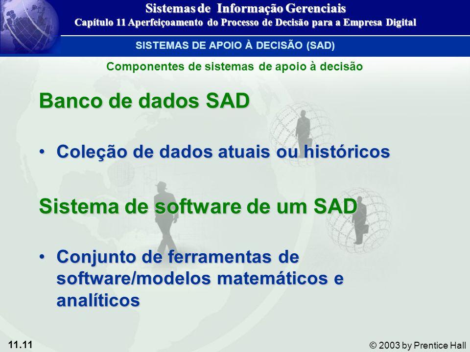 11.11 © 2003 by Prentice Hall Banco de dados SAD Coleção de dados atuais ou históricosColeção de dados atuais ou históricos Sistema de software de um