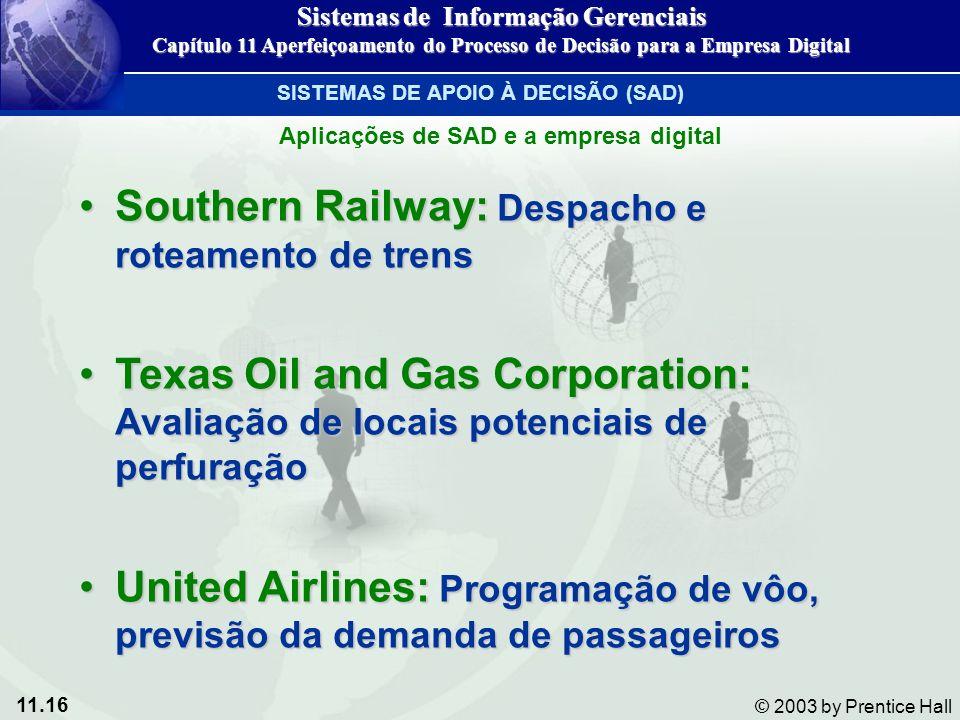 11.16 © 2003 by Prentice Hall Southern Railway: Despacho e roteamento de trensSouthern Railway: Despacho e roteamento de trens Texas Oil and Gas Corpo