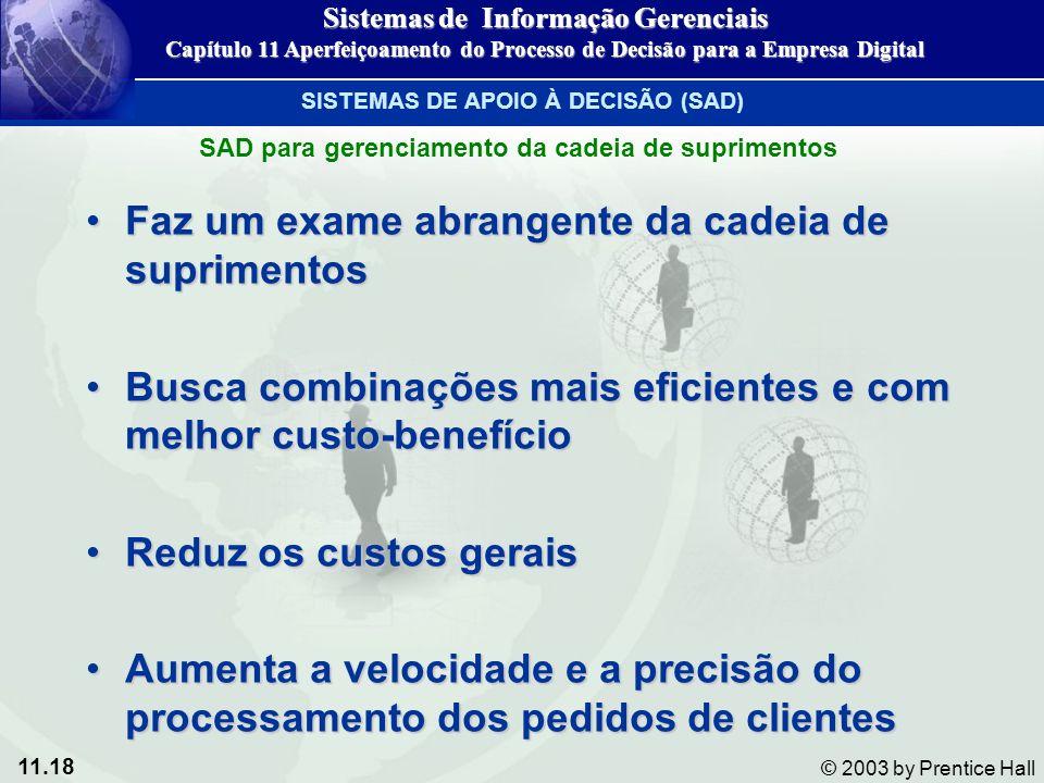 11.18 © 2003 by Prentice Hall Faz um exame abrangente da cadeia de suprimentosFaz um exame abrangente da cadeia de suprimentos Busca combinações mais