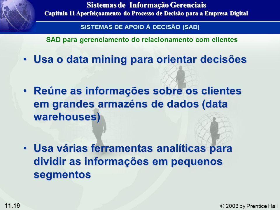 11.19 © 2003 by Prentice Hall Usa o data mining para orientar decisõesUsa o data mining para orientar decisões Reúne as informações sobre os clientes