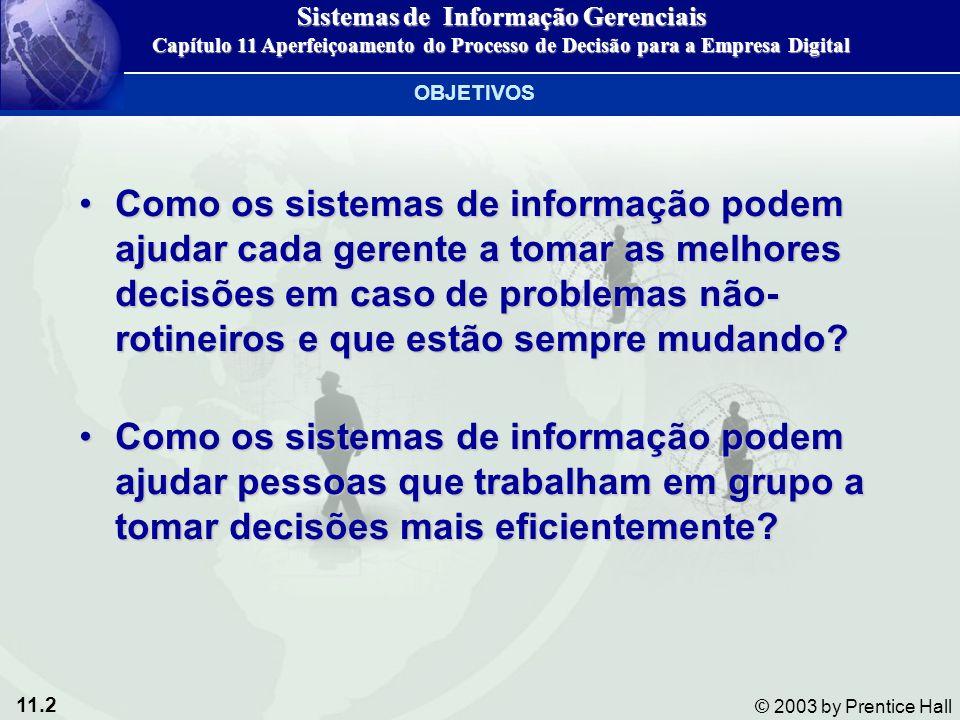 11.3 © 2003 by Prentice Hall Há sistemas especiais que podem facilitar o processo de decisão de administradores seniores.
