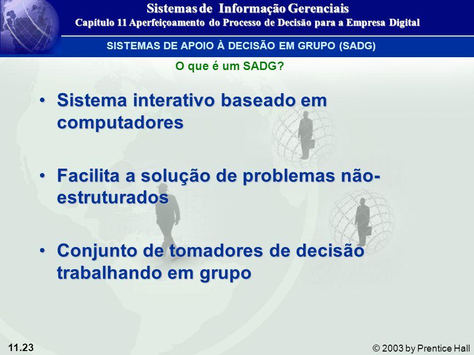 11.23 © 2003 by Prentice Hall Sistema interativo baseado em computadoresSistema interativo baseado em computadores Facilita a solução de problemas não