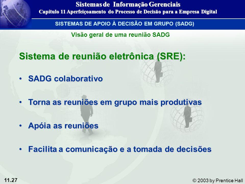 11.27 © 2003 by Prentice Hall Sistema de reunião eletrônica (SRE): SADG colaborativoSADG colaborativo Torna as reuniões em grupo mais produtivasTorna