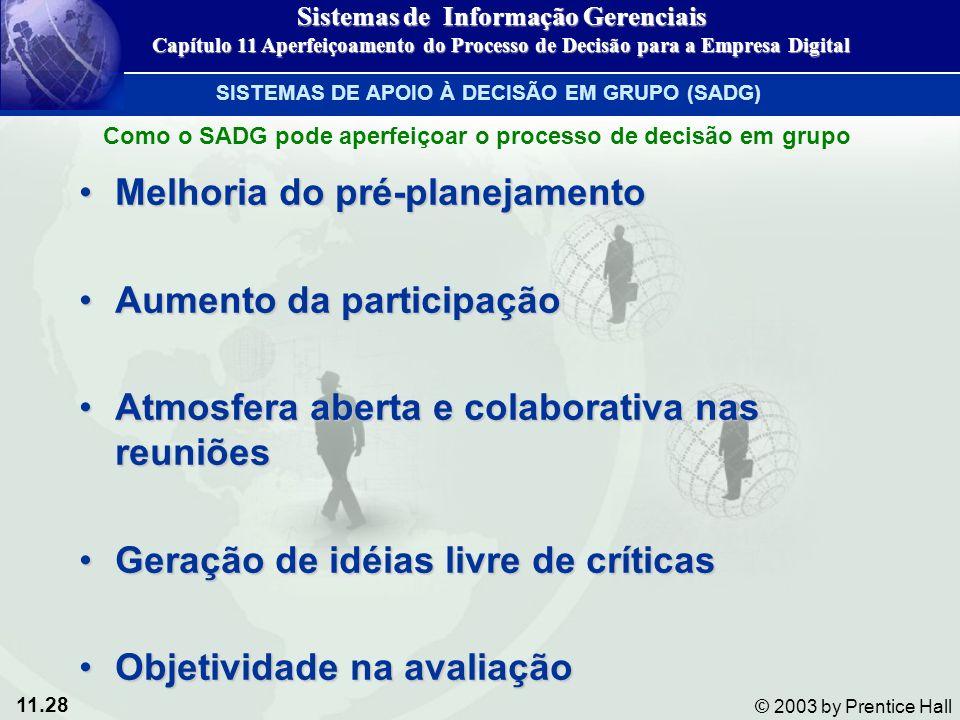11.28 © 2003 by Prentice Hall Melhoria do pré-planejamentoMelhoria do pré-planejamento Aumento da participaçãoAumento da participação Atmosfera aberta