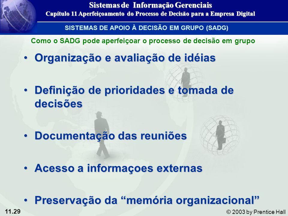 11.29 © 2003 by Prentice Hall Organização e avaliação de idéiasOrganização e avaliação de idéias Definição de prioridades e tomada de decisõesDefiniçã