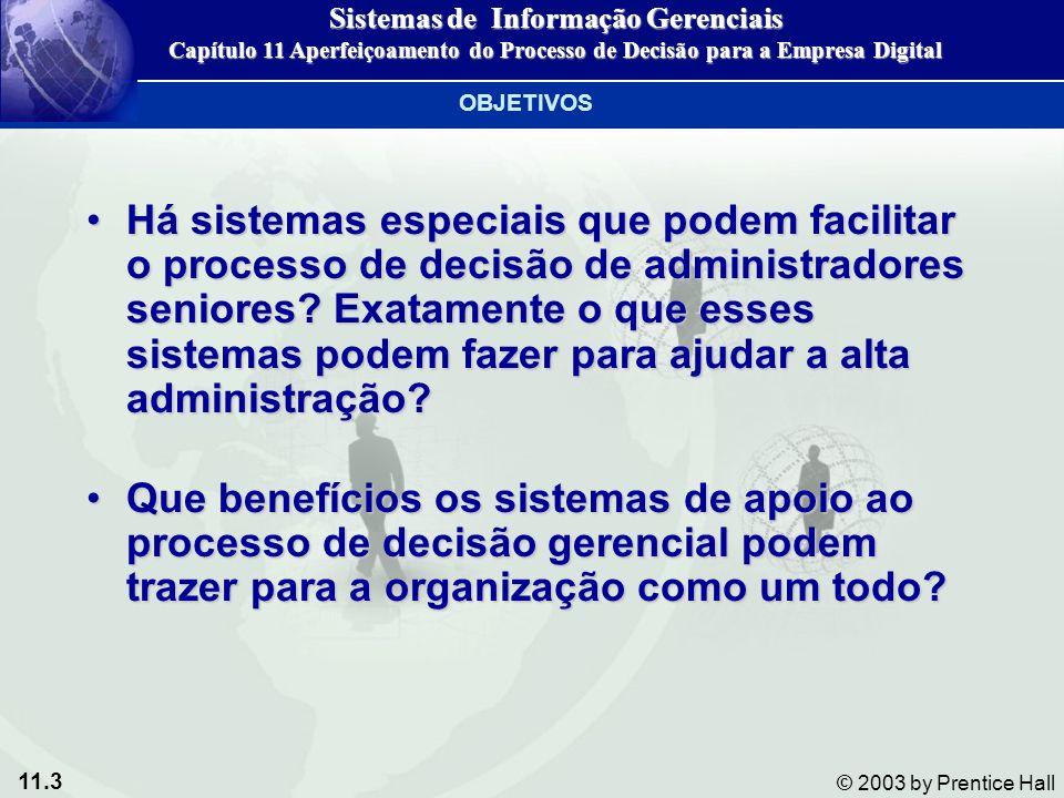 11.3 © 2003 by Prentice Hall Há sistemas especiais que podem facilitar o processo de decisão de administradores seniores? Exatamente o que esses siste