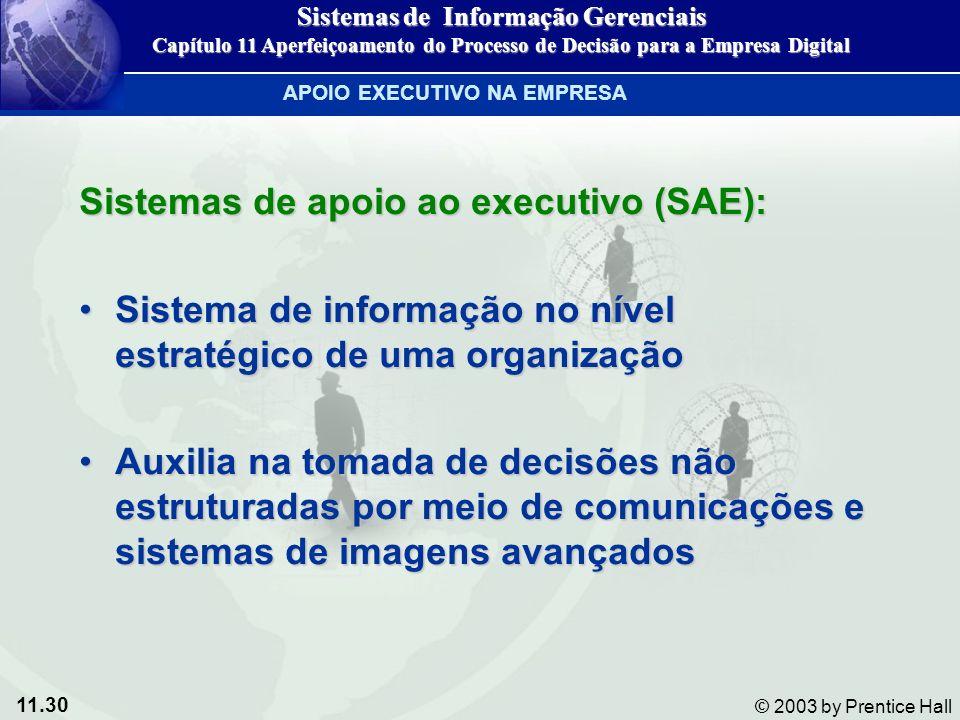11.30 © 2003 by Prentice Hall Sistemas de apoio ao executivo (SAE): Sistema de informação no nível estratégico de uma organizaçãoSistema de informação