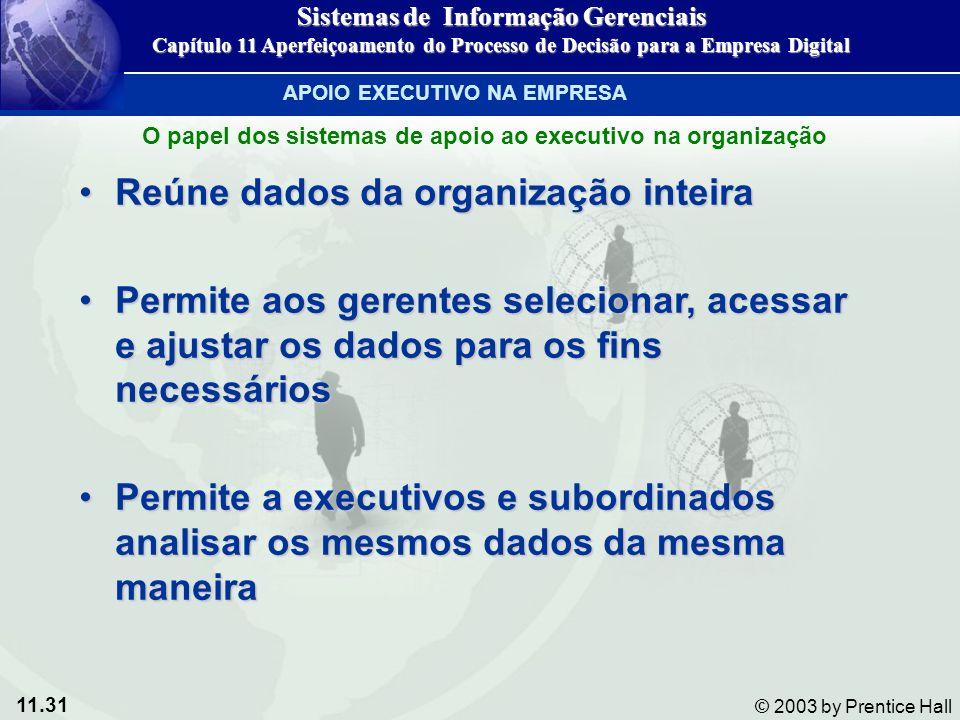 11.31 © 2003 by Prentice Hall Reúne dados da organização inteiraReúne dados da organização inteira Permite aos gerentes selecionar, acessar e ajustar