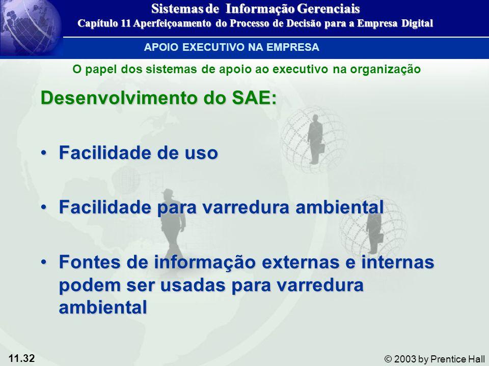 11.32 © 2003 by Prentice Hall Desenvolvimento do SAE: Facilidade de usoFacilidade de uso Facilidade para varredura ambientalFacilidade para varredura