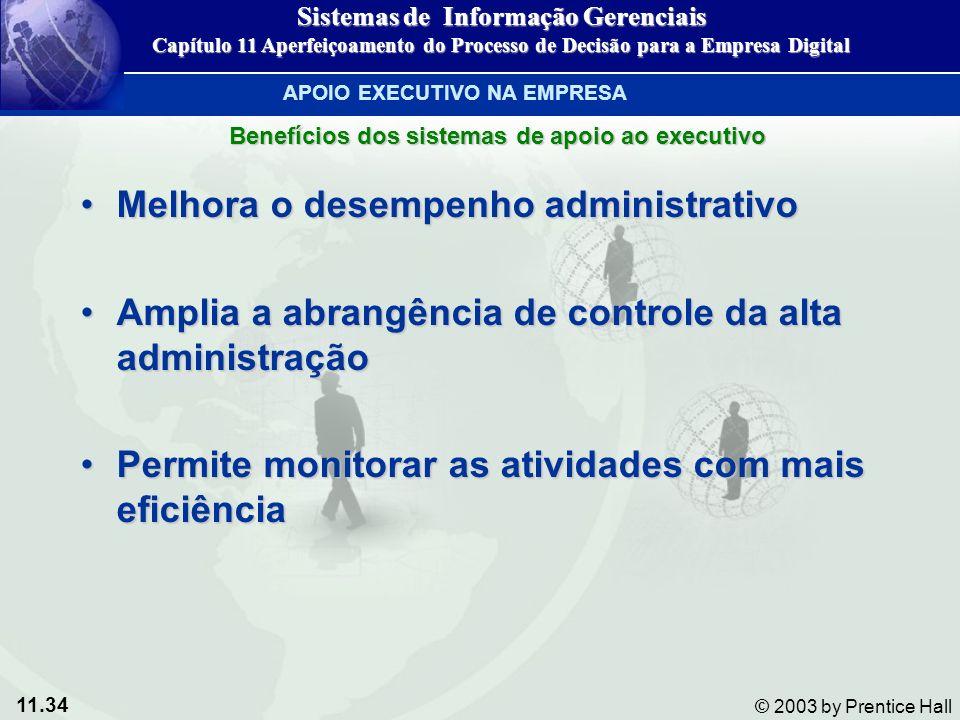 11.34 © 2003 by Prentice Hall Melhora o desempenho administrativoMelhora o desempenho administrativo Amplia a abrangência de controle da alta administ