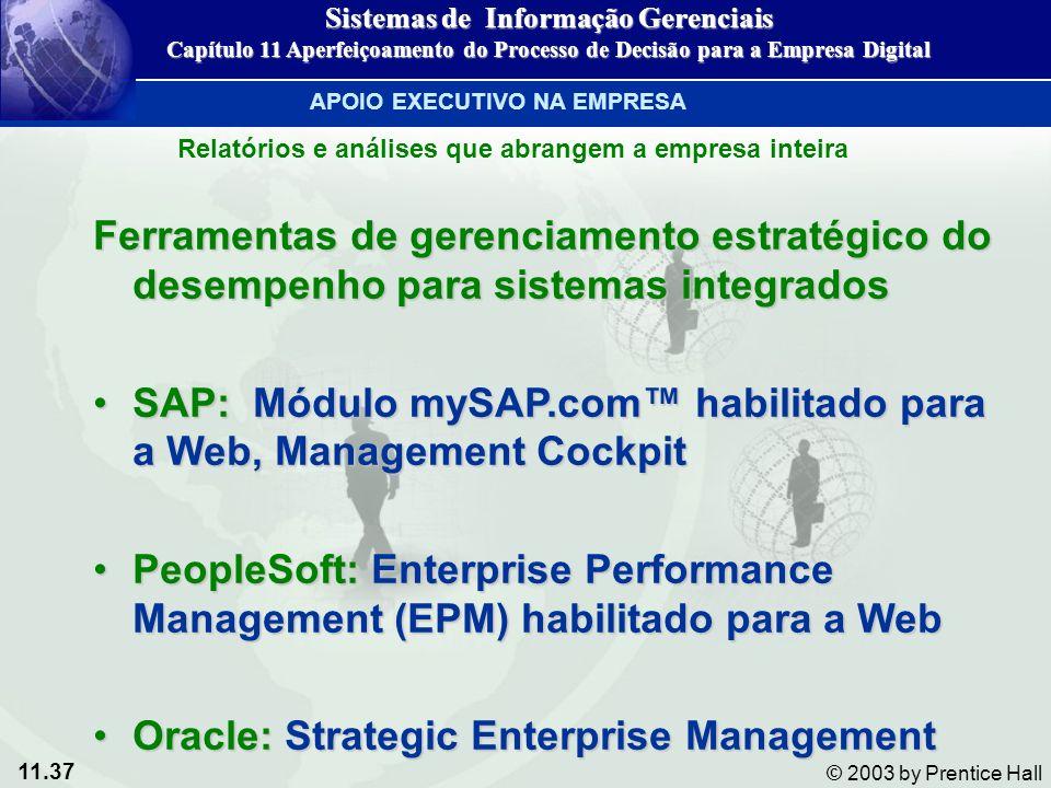 11.37 © 2003 by Prentice Hall Ferramentas de gerenciamento estratégico do desempenho para sistemas integrados SAP: Módulo mySAP.com habilitado para a