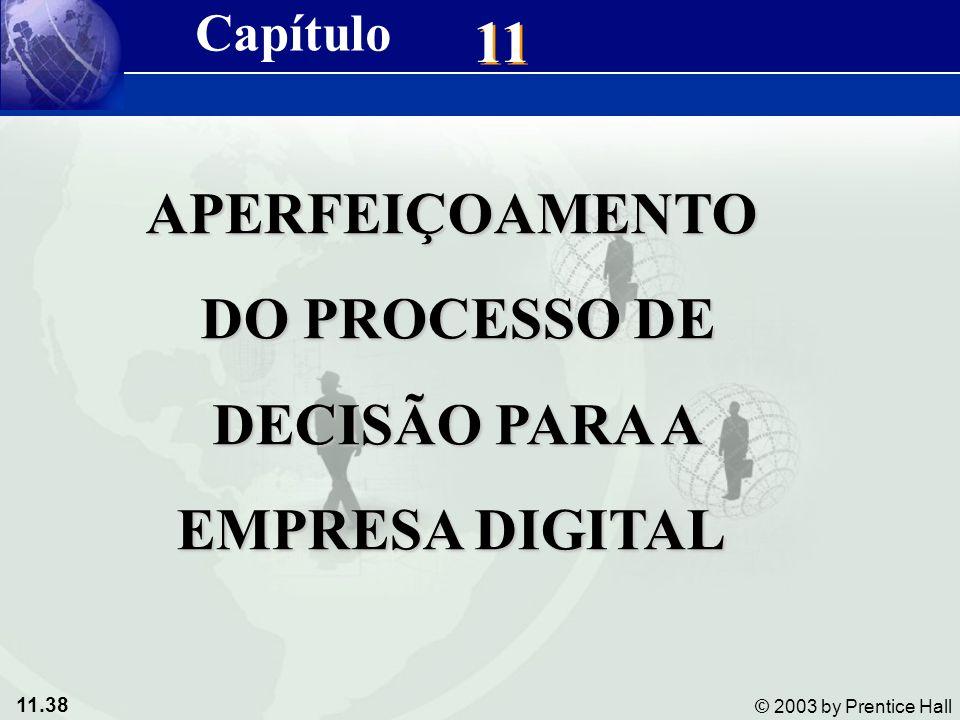 11.38 © 2003 by Prentice Hall 11 Capítulo APERFEIÇOAMENTO DO PROCESSO DE DO PROCESSO DE DECISÃO PARA A DECISÃO PARA A EMPRESA DIGITAL