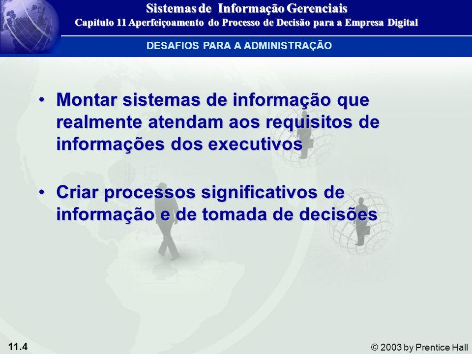 11.4 © 2003 by Prentice Hall Montar sistemas de informação que realmente atendam aos requisitos de informações dos executivosMontar sistemas de inform