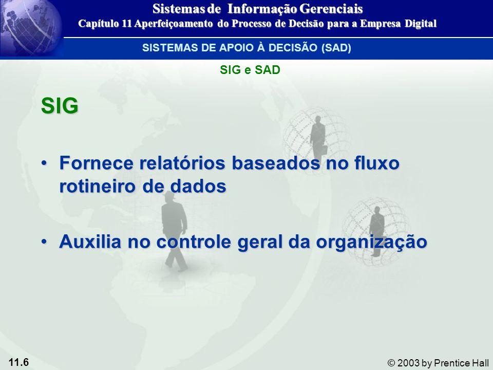 11.6 © 2003 by Prentice Hall SIG Fornece relatórios baseados no fluxo rotineiro de dadosFornece relatórios baseados no fluxo rotineiro de dados Auxili