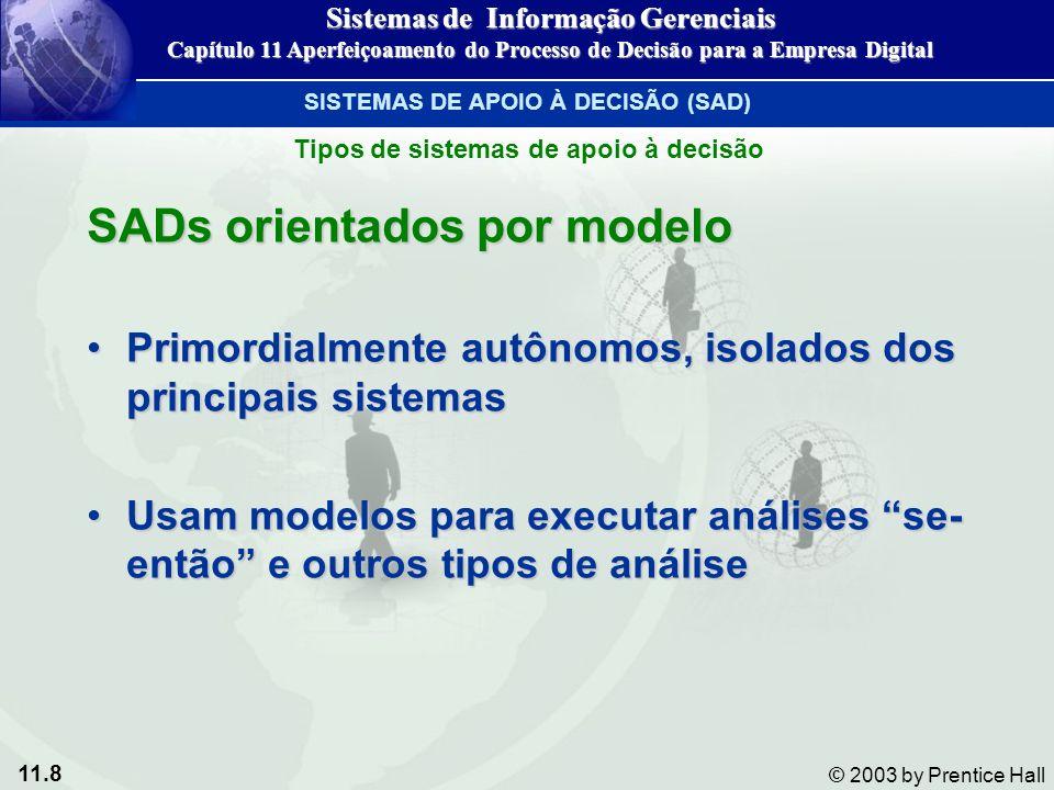 11.8 © 2003 by Prentice Hall SADs orientados por modelo Primordialmente autônomos, isolados dos principais sistemasPrimordialmente autônomos, isolados