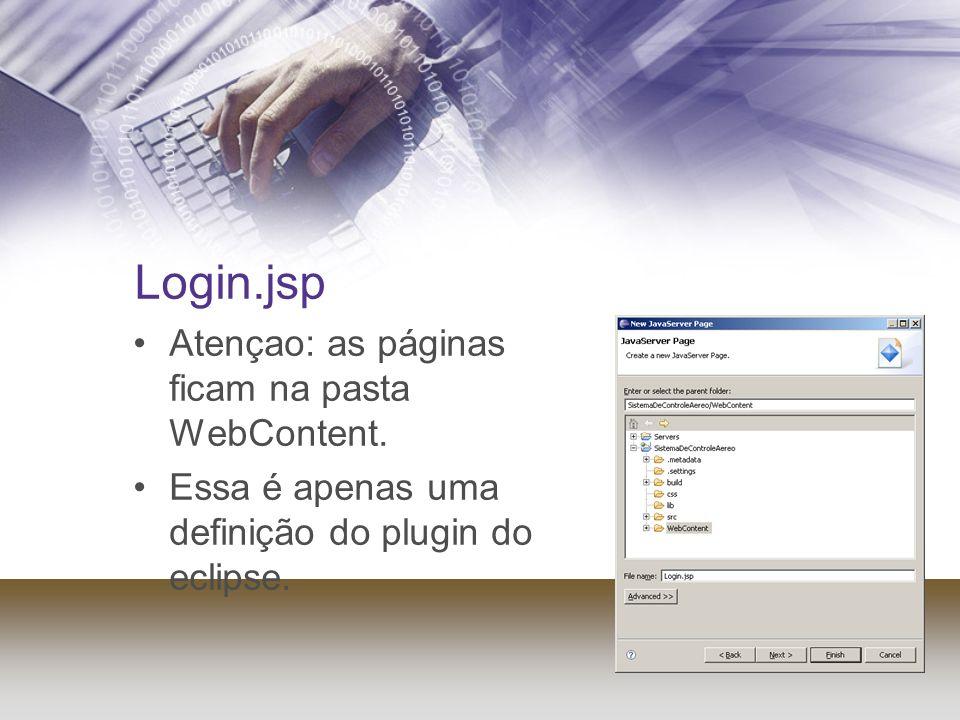 Login.jsp Atençao: as páginas ficam na pasta WebContent. Essa é apenas uma definição do plugin do eclipse.