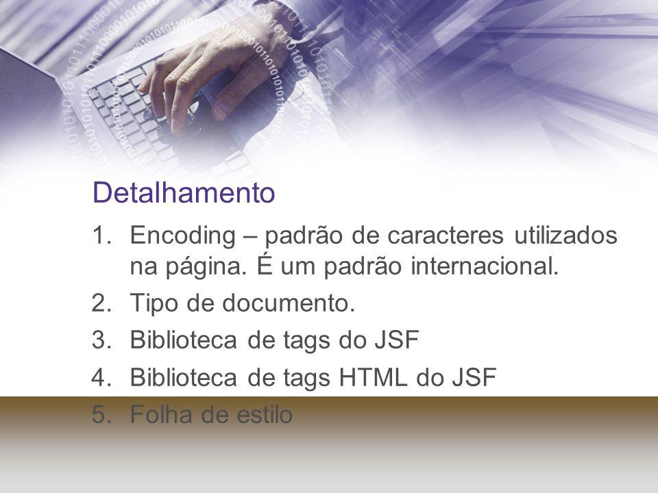 Detalhamento 1.Encoding – padrão de caracteres utilizados na página. É um padrão internacional. 2.Tipo de documento. 3.Biblioteca de tags do JSF 4.Bib