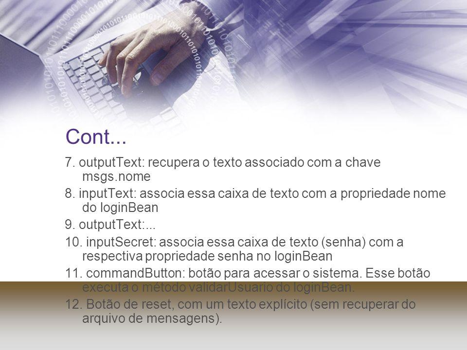 Cont... 7. outputText: recupera o texto associado com a chave msgs.nome 8. inputText: associa essa caixa de texto com a propriedade nome do loginBean