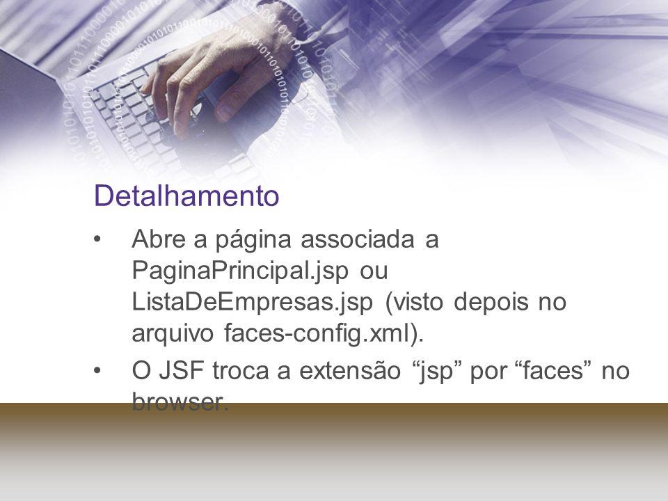 Detalhamento Abre a página associada a PaginaPrincipal.jsp ou ListaDeEmpresas.jsp (visto depois no arquivo faces-config.xml). O JSF troca a extensão j