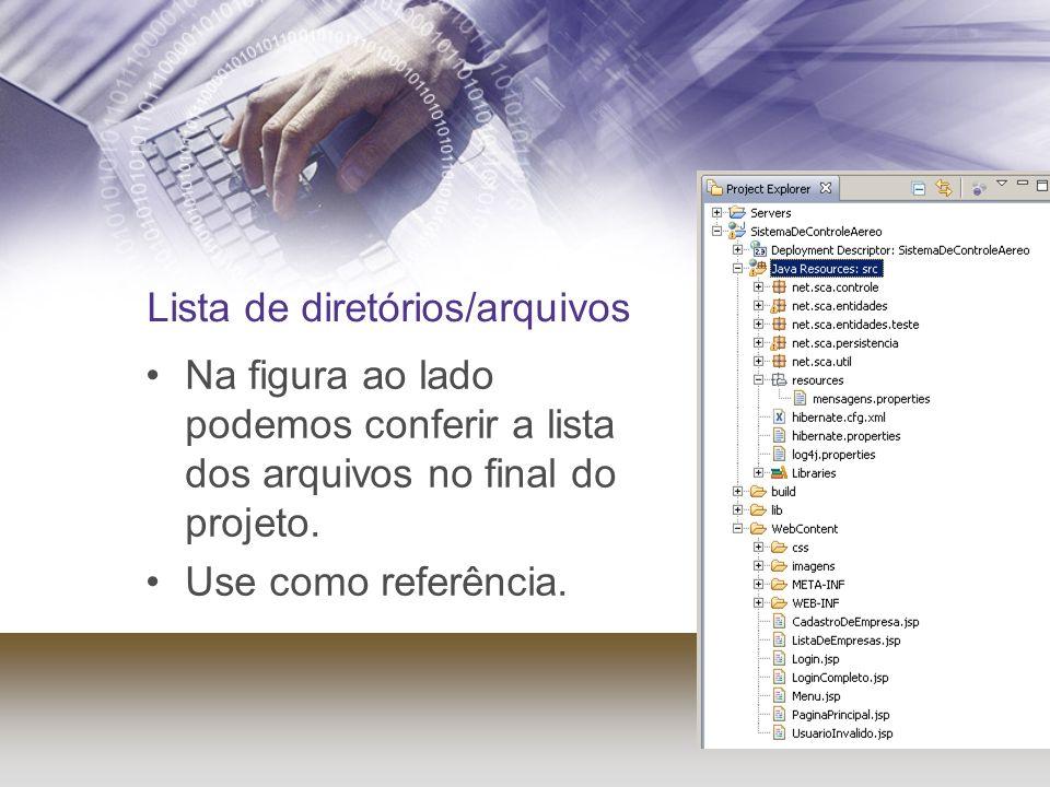 Lista de diretórios/arquivos Na figura ao lado podemos conferir a lista dos arquivos no final do projeto. Use como referência.