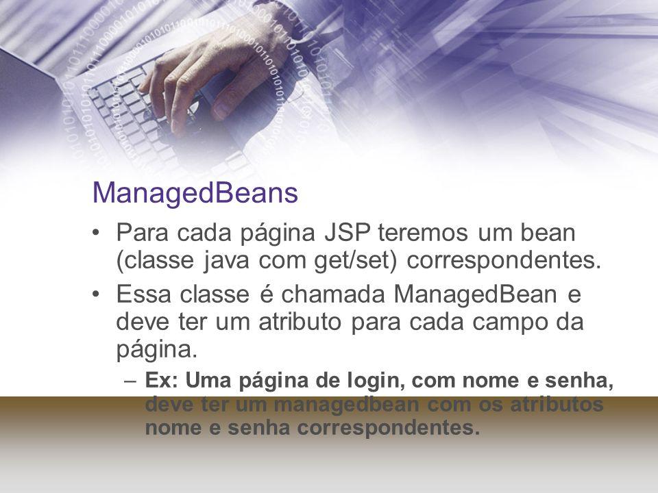 ManagedBeans Para cada página JSP teremos um bean (classe java com get/set) correspondentes. Essa classe é chamada ManagedBean e deve ter um atributo