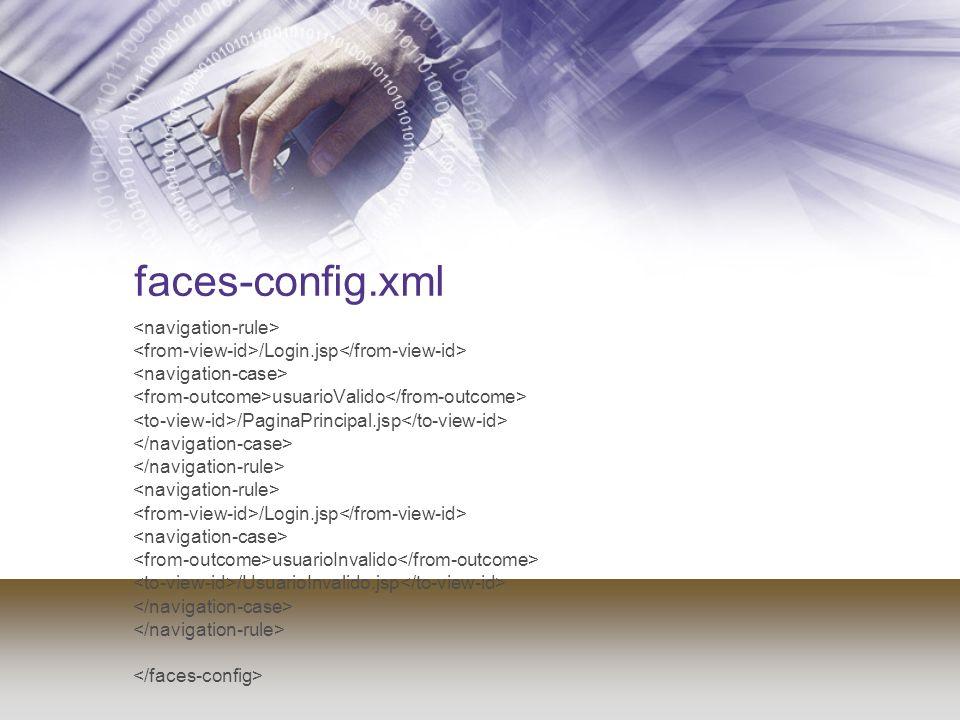 faces-config.xml /Login.jsp usuarioValido /PaginaPrincipal.jsp /Login.jsp usuarioInvalido /UsuarioInvalido.jsp