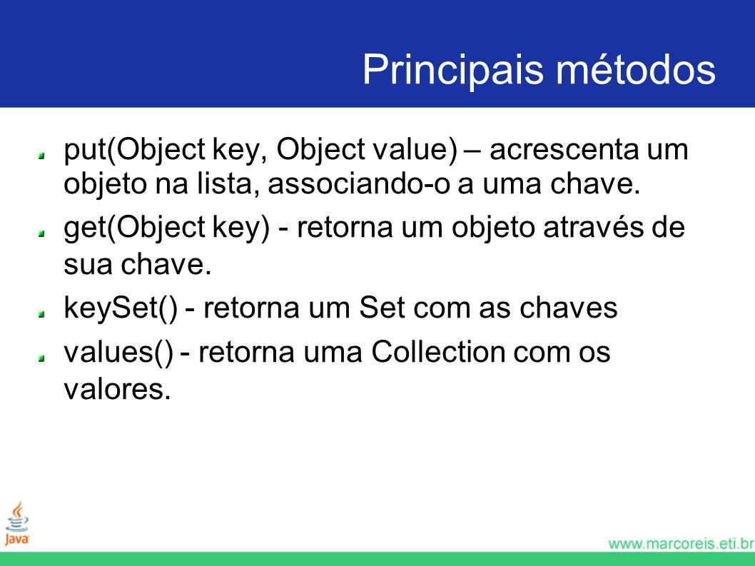 Principais métodos put(Object key, Object value) – acrescenta um objeto na lista, associando-o a uma chave.