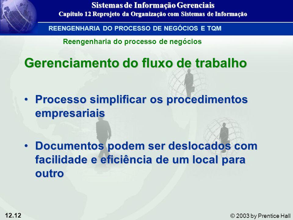 12.12 © 2003 by Prentice Hall Gerenciamento do fluxo de trabalho Processo simplificar os procedimentos empresariaisProcesso simplificar os procediment