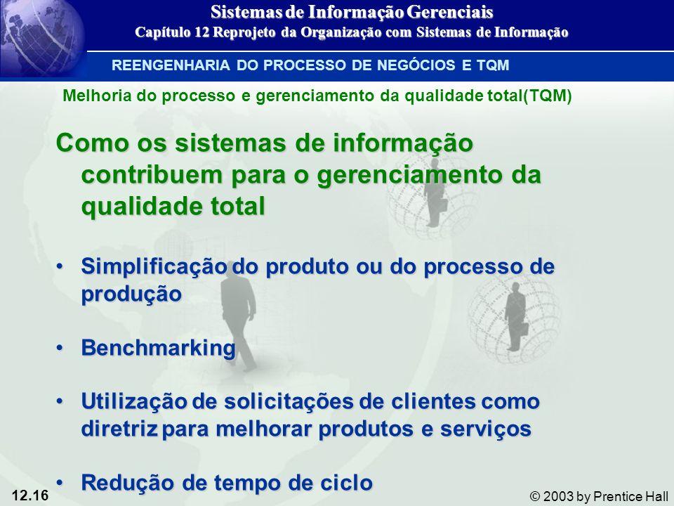 12.16 © 2003 by Prentice Hall Como os sistemas de informação contribuem para o gerenciamento da qualidade total Simplificação do produto ou do process