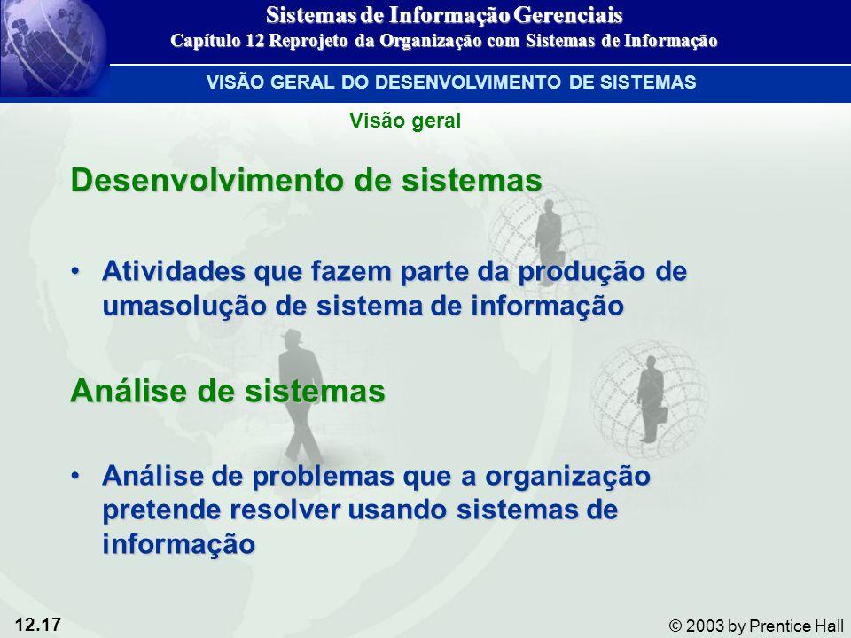 12.17 © 2003 by Prentice Hall Desenvolvimento de sistemas Atividades que fazem parte da produção de umasolução de sistema de informaçãoAtividades que