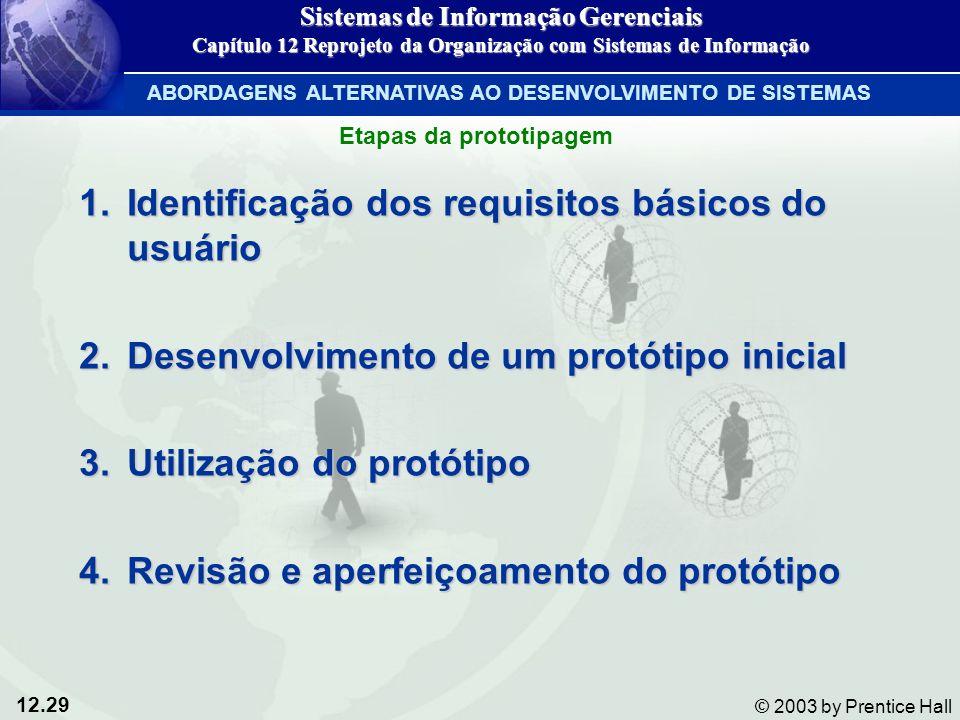 12.29 © 2003 by Prentice Hall 1.Identificação dos requisitos básicos do usuário 2.Desenvolvimento de um protótipo inicial 3.Utilização do protótipo 4.