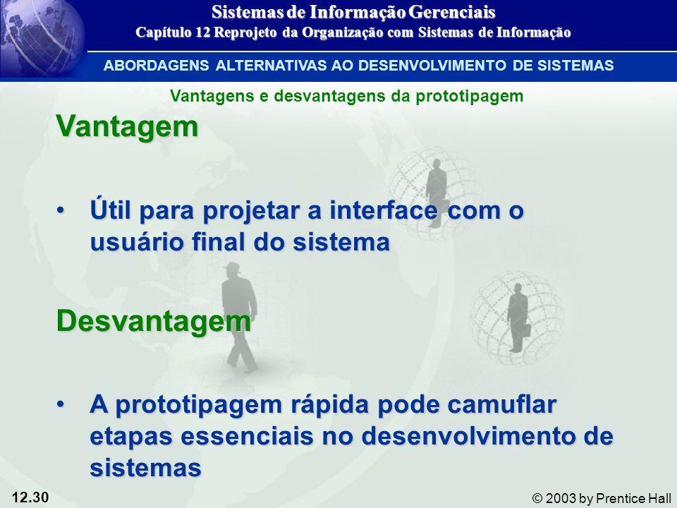 12.30 © 2003 by Prentice Hall Vantagem Útil para projetar a interface com o usuário final do sistemaÚtil para projetar a interface com o usuário final