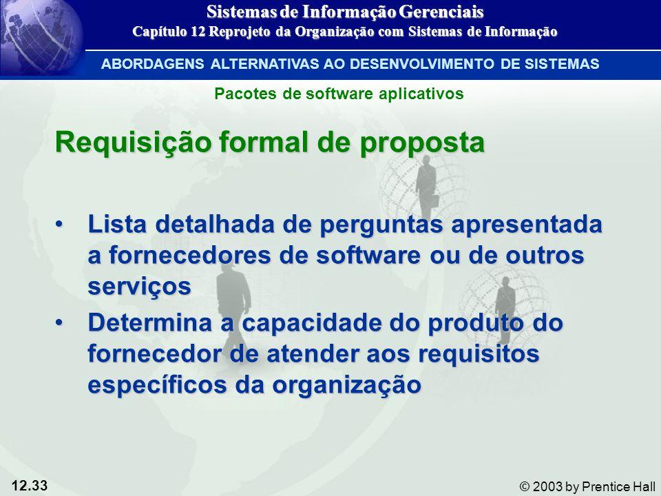 12.33 © 2003 by Prentice Hall Requisição formal de proposta Lista detalhada de perguntas apresentada a fornecedores de software ou de outros serviçosL