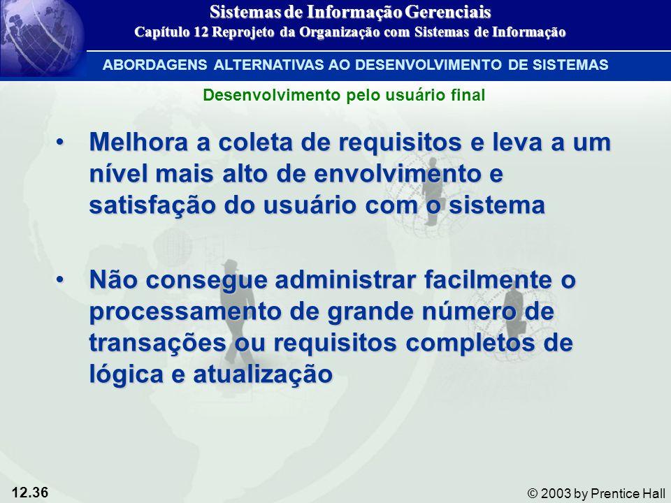 12.36 © 2003 by Prentice Hall Melhora a coleta de requisitos e leva a um nível mais alto de envolvimento e satisfação do usuário com o sistemaMelhora
